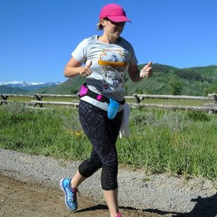 Geena on the course @ Grand Teton Half Marathon, June 2016
